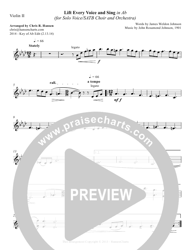 Lift Every Voice And Sing Orchestration Chris Hansen Praisecharts