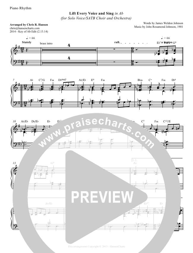 Lift Every Voice And Sing Pianorhythm Chris Hansen Praisecharts