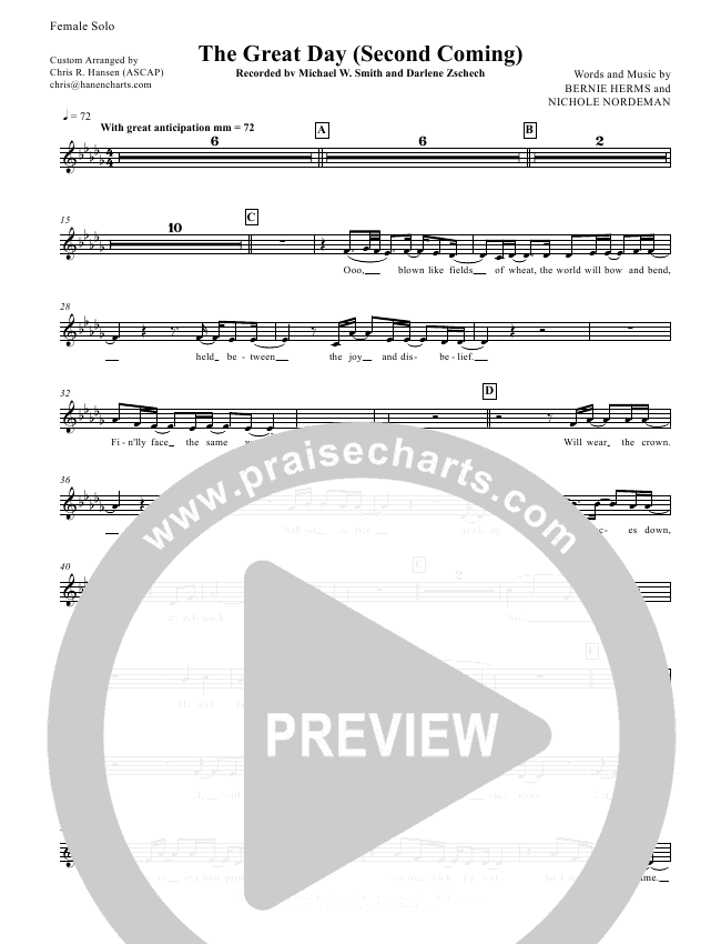 The Great Day (Second Coming) Choir Sheet (SATB) (Michael W. Smith)