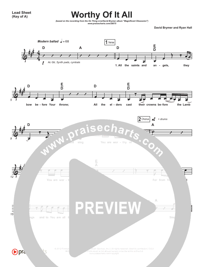 Worthy Of It All Lead Sheet (Melody) (Onething Live / David Brymer)