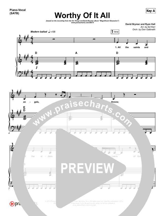 Worthy Of It All Piano/Vocal (SATB) (Onething Live / David Brymer)
