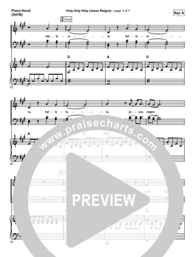 Holy Holy Holy (Jesus Reigns) Piano/Vocal (SATB) (Highlands Worship)