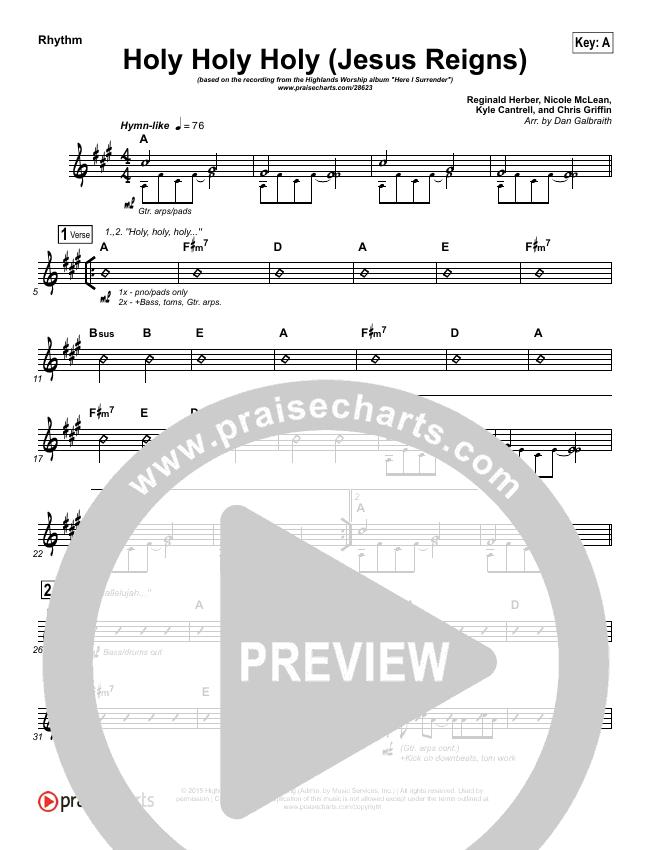 Holy Holy Holy (Jesus Reigns) Rhythm Chart (Highlands Worship)