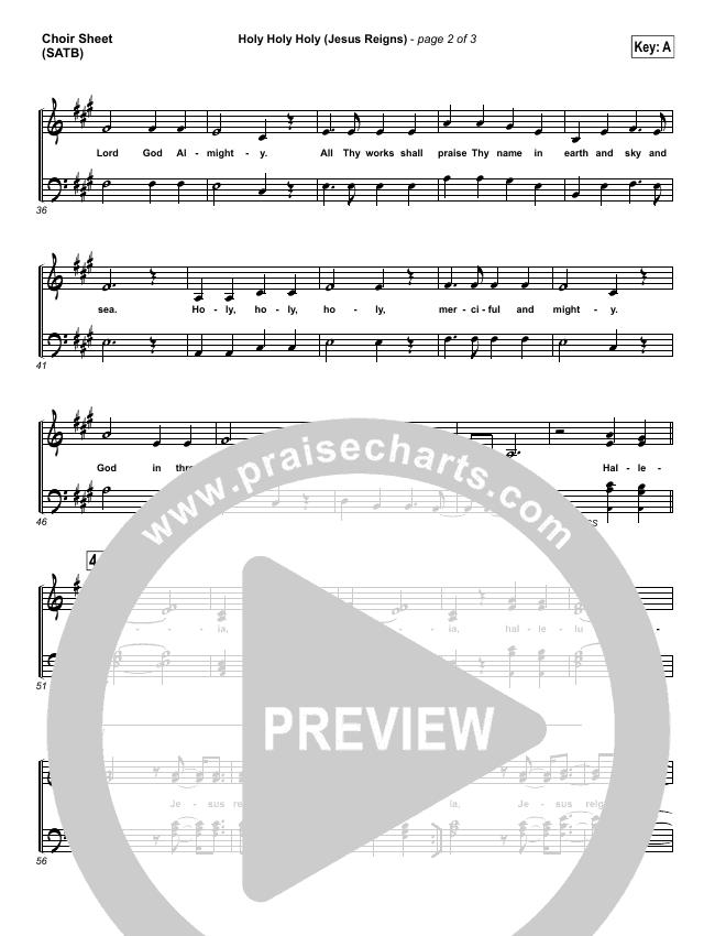 Holy Holy Holy (Jesus Reigns) Choir Sheet (SATB) (Highlands Worship)