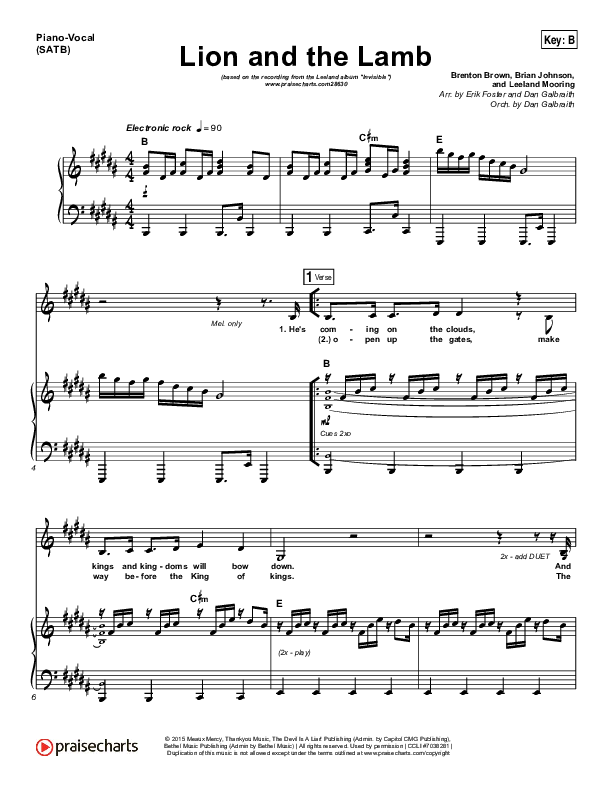 Lion And The Lamb Piano/Vocal (SATB) (Leeland)