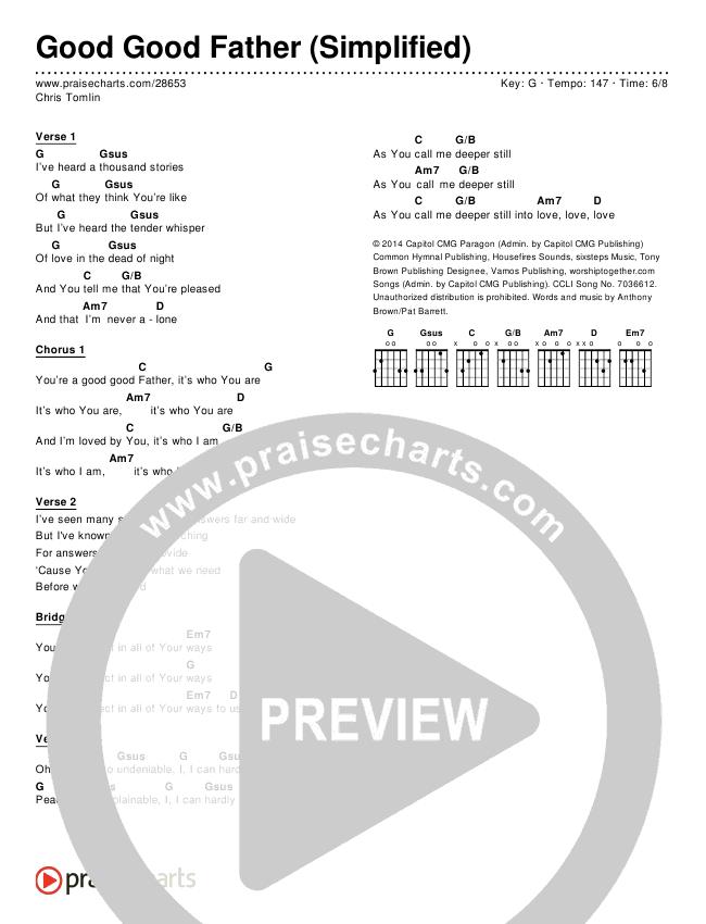 Good Good Father (Simplified) Chord Chart (Chris Tomlin)