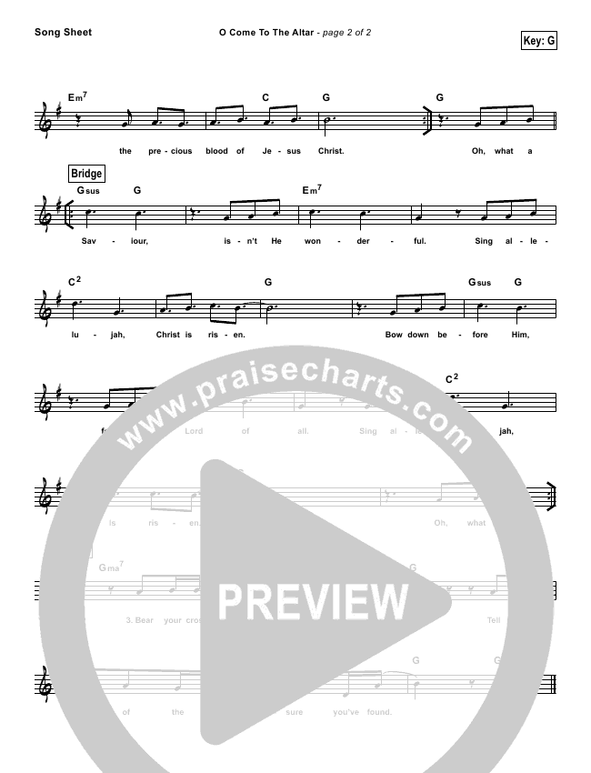O Come To The Altar (Simplified) Lead Sheet (Elevation Worship)
