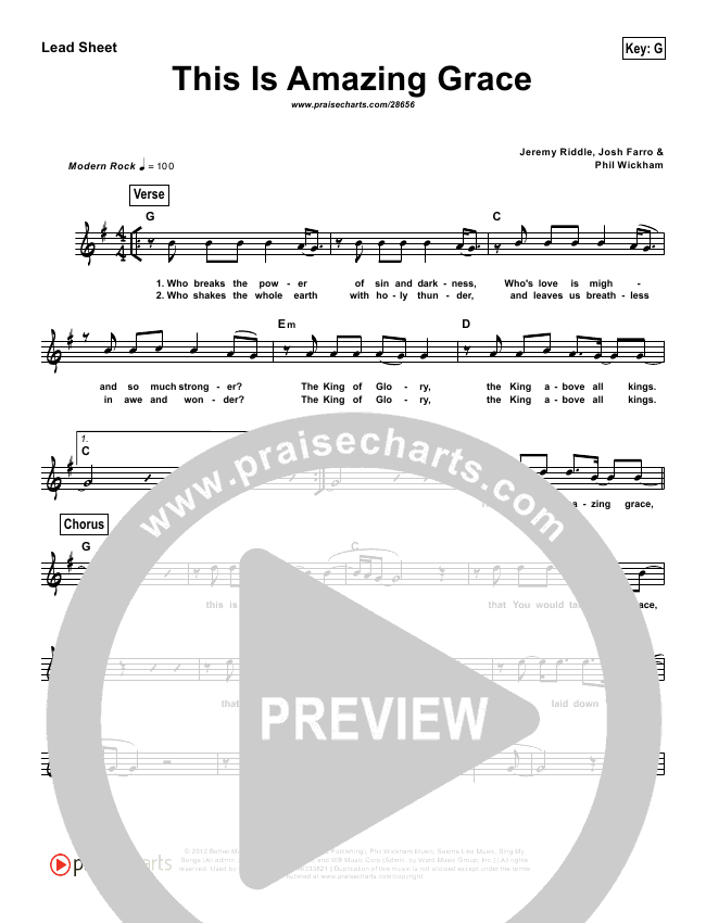 This Is Amazing Grace (Simplified) Lead Sheet (Phil Wickham)