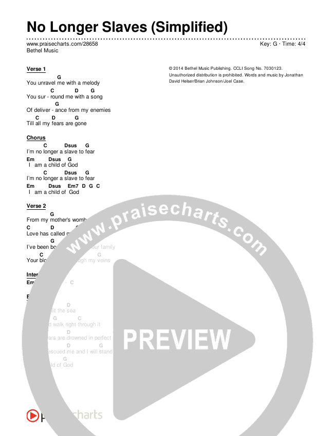 No Longer Slaves (Simplified) Chord Chart (Bethel Music)