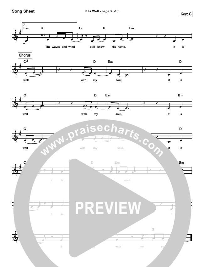 It Is Well (Simplified) Lead Sheet (Bethel Music / Kristene DiMarco)