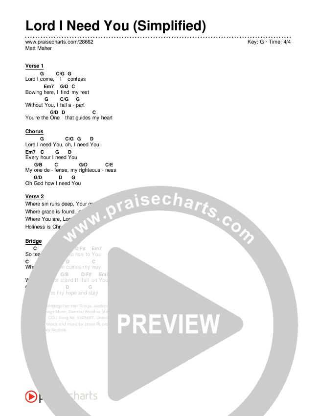 Lord I Need You (Simplified) Chords & Lyrics (Matt Maher)