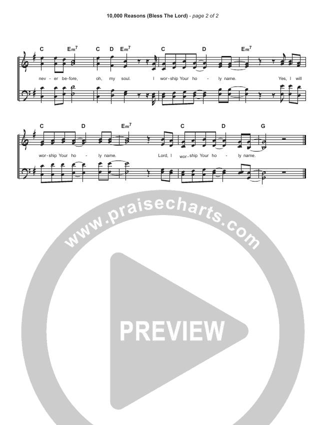 10000 Reasons (Bless The Lord) (Simplified) Hymn Sheet (Matt Redman)