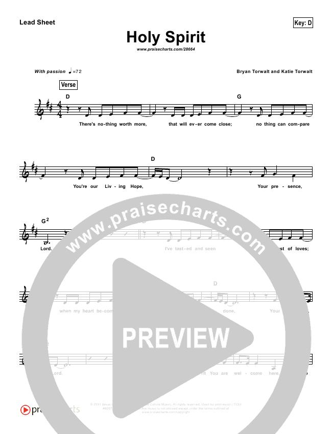 Holy Spirit  (Simplified) Lead Sheet (Francesca Battistelli)