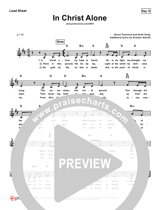 In Christ Alone (Simplified) Lead Sheet (Passion / Kristian Stanfill)