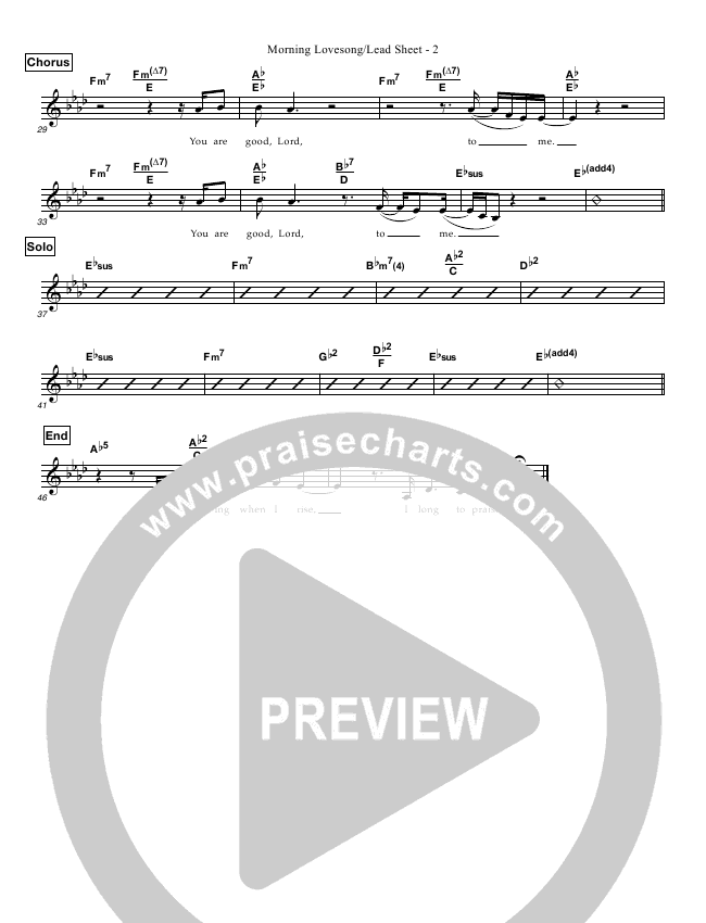 Morning Lovesong Lead Sheet (Kathy Spaargaren)