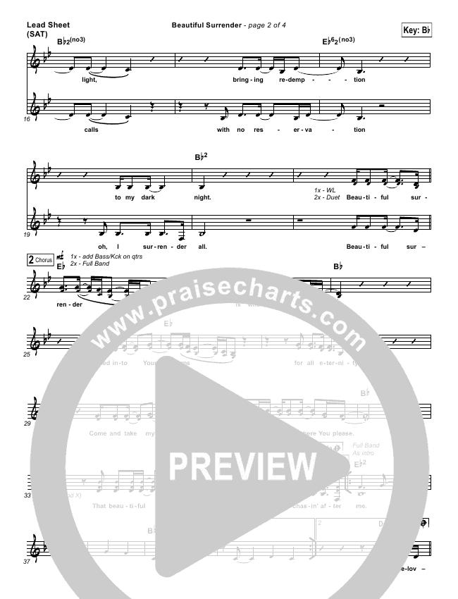Beautiful Surrender Lead (SAT) (Jonathan David Helser / Melissa Helser)