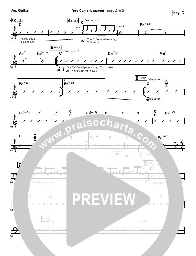 You Came (Lazarus) Rhythm Chart (Jonathan David Helser / Melissa Helser)