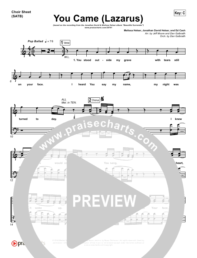 You Came (Lazarus) Choir Sheet (SATB) (Jonathan David Helser / Melissa Helser)