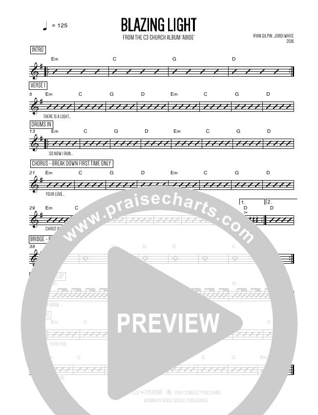 Blazing Light Chords C3 Worship Praisecharts