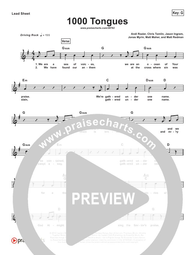 1000 Tongues (Simplified) Lead Sheet (Hillsong UNITED)
