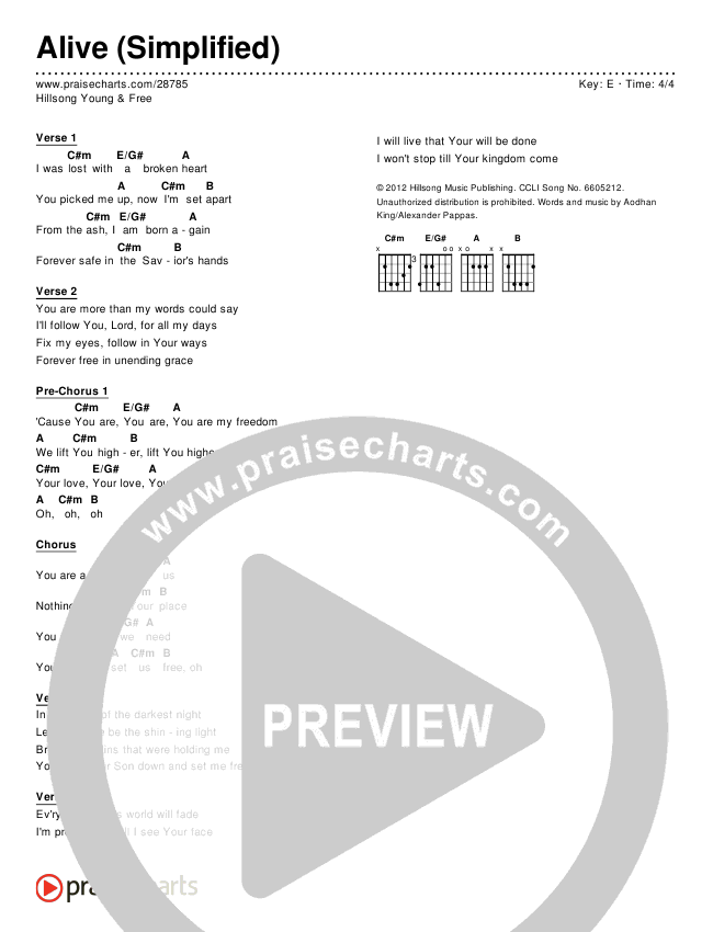 Alive (Simplified) Chords & Lyrics (Hillsong Young & Free)
