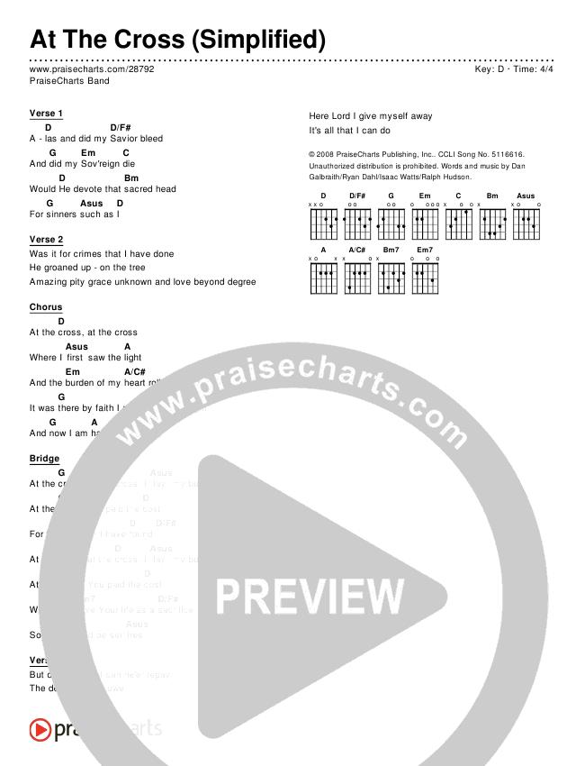 At The Cross (Simplified) Chord Chart (PraiseCharts Band)