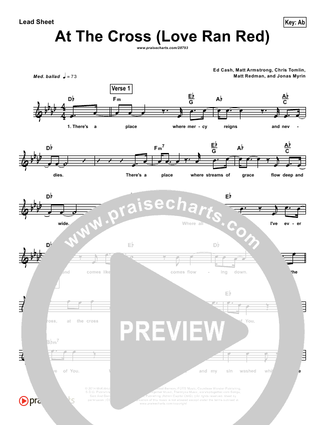 At The Cross (Love Ran Red) (Simplified) Lead Sheet (Chris Tomlin)