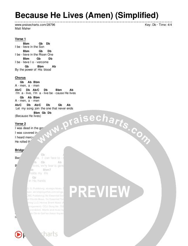 Because He Lives (Amen) (Simplified) Chord Chart (Matt Maher)