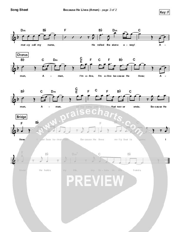 Because He Lives (Amen) (Simplified) Lead Sheet (Melody) (Matt Maher)