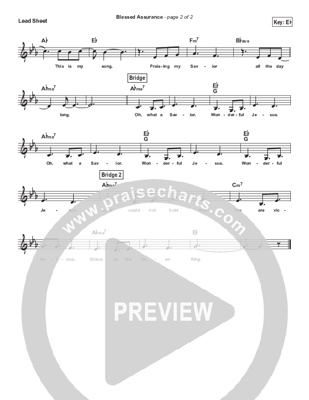 Blessed Assurance (Simplified) Lead Sheet (Elevation Worship)