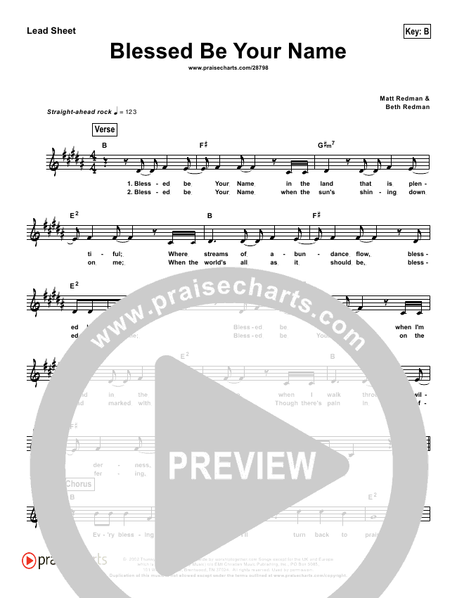 Blessed Be Your Name (Simplified) Lead Sheet (Matt Redman)