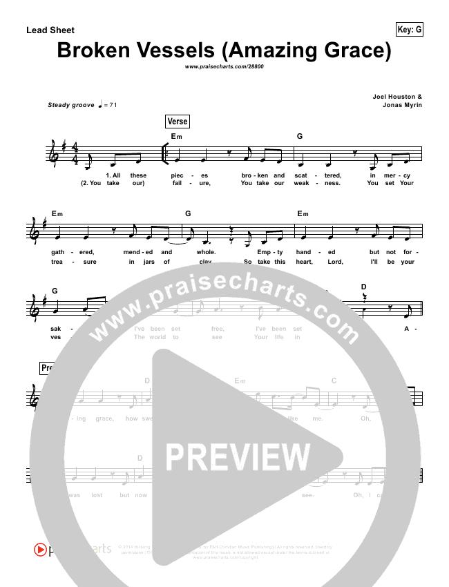 Broken Vessels (Simplified) Lead Sheet (Hillsong Worship)