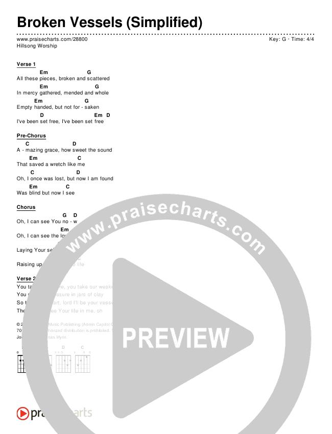 Broken Vessels (Simplified) Chord Chart (Hillsong Worship)