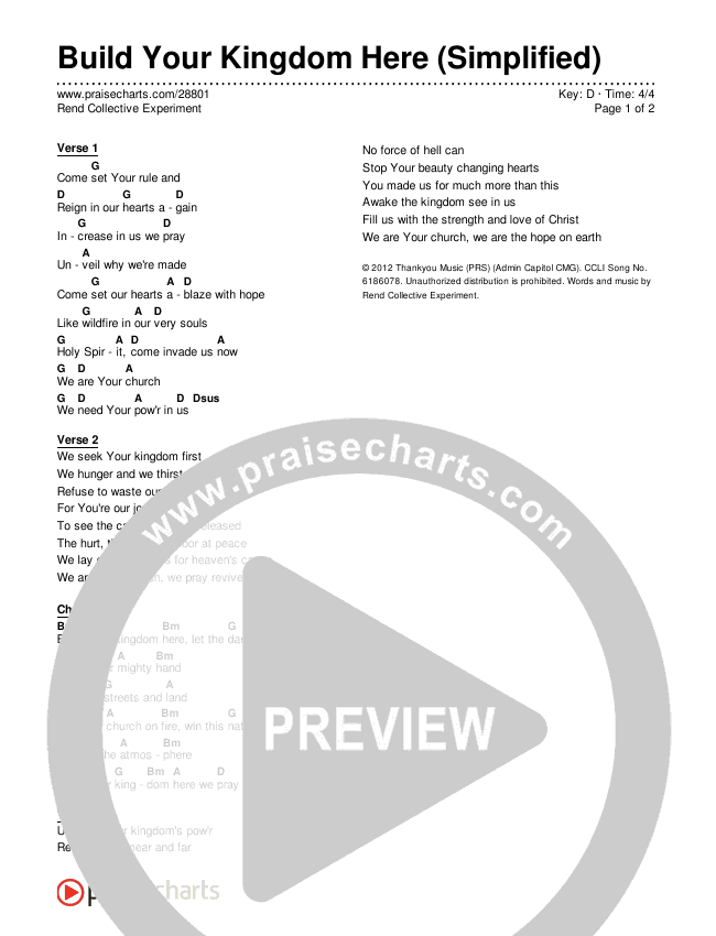 Build Your Kingdom Here (Simplified) Chords & Lyrics (Rend Collective)