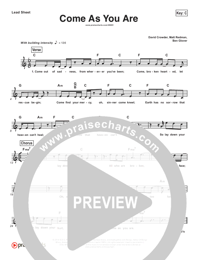 Come As You Are (Simplified) Lead Sheet (David Crowder)