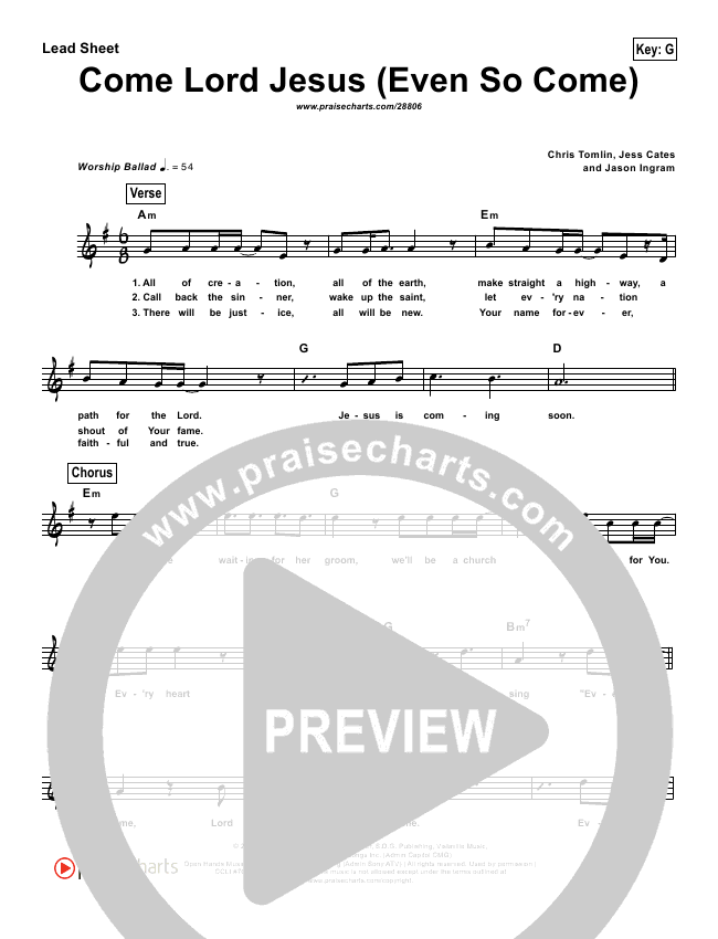 Even So Come (Simplified) Lead Sheet (Passion Band / Chris Tomlin)