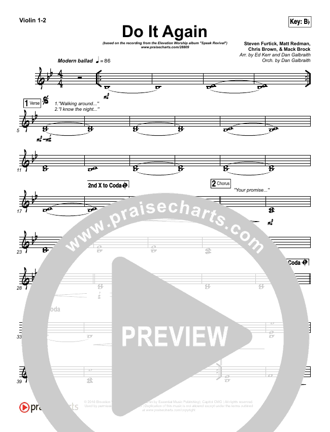 do it again orchestration elevation worship praisecharts