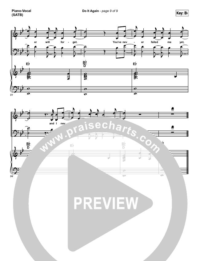 do it again lead sheet amp pianovocal elevation worship