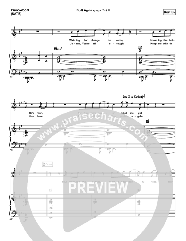 Do It Again Piano/Vocal (SATB) (Elevation Worship)