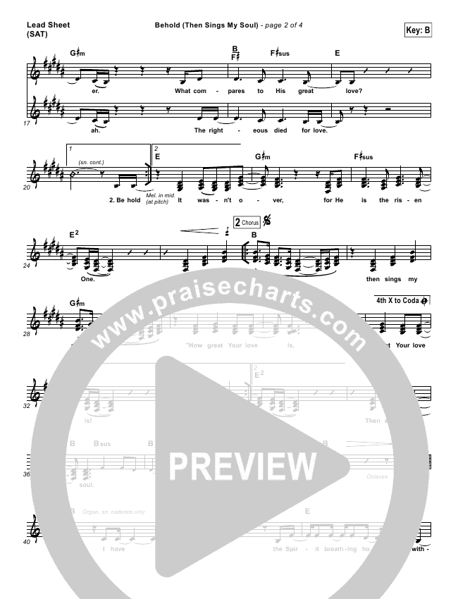 Behold (Then Sings My Soul) Lead Sheet & Piano/Vocal