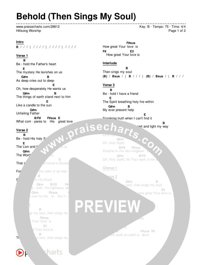 Behold (Then Sings My Soul) Chords & Lyrics (Hillsong Worship)