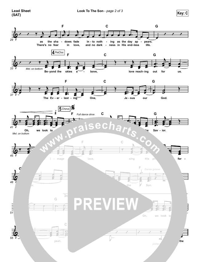 Look To The Son Lead Sheet (SAT) (Hillsong Worship)