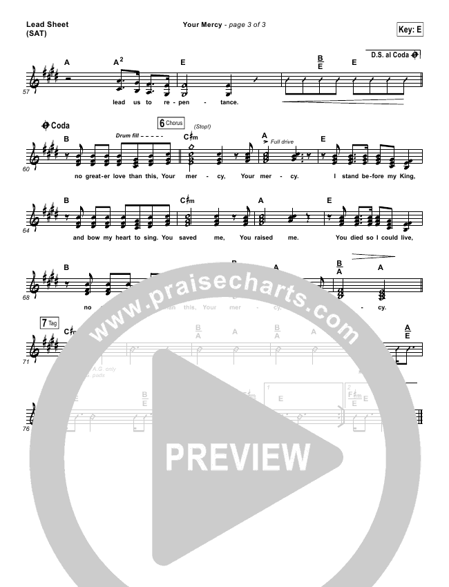 Your Mercy Lead & Piano/Vocal (Paul Baloche)