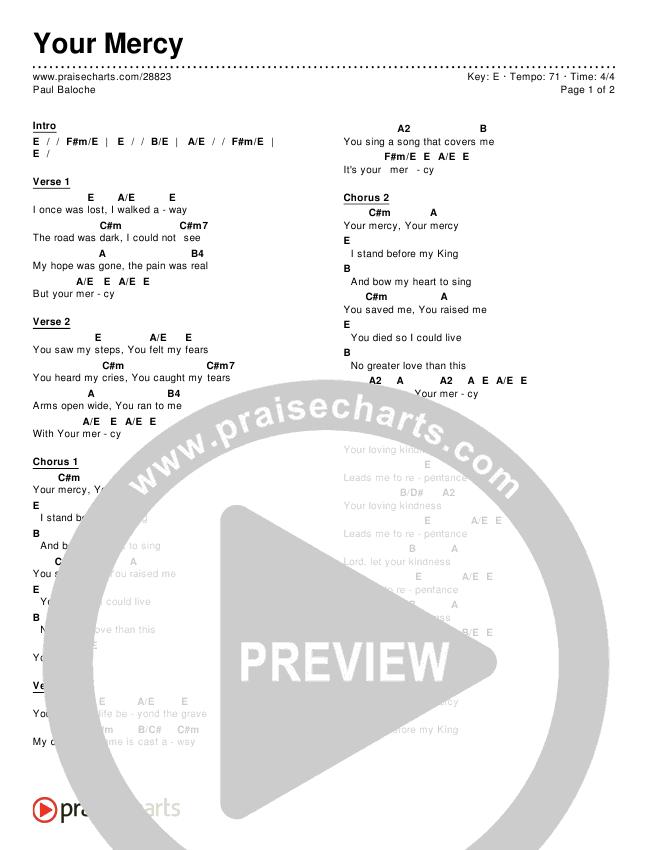 Your mercy chords paul baloche praisecharts