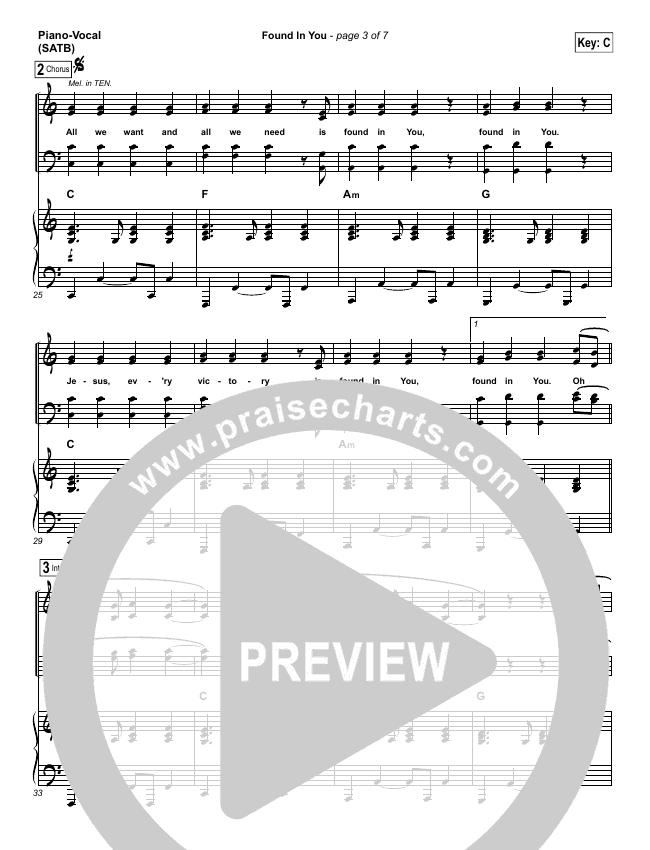 Found In You Piano/Vocal (SATB) (Paul Baloche)