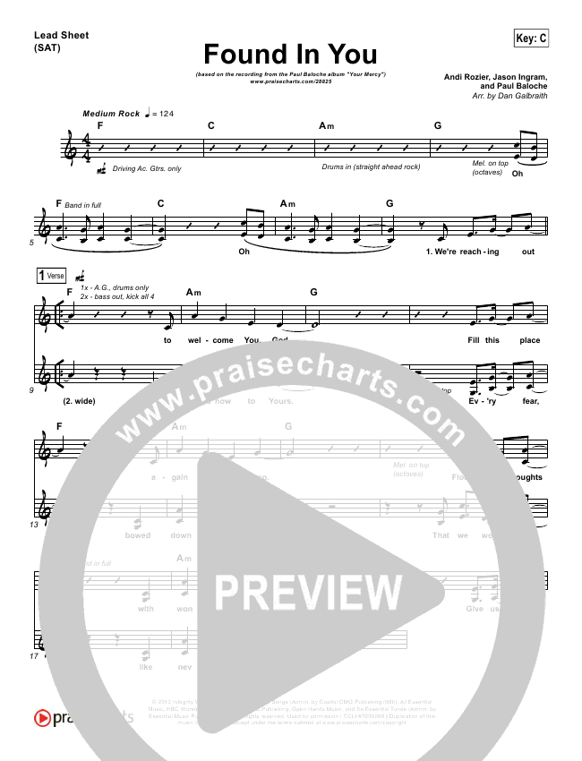Found In You Lead & Piano/Vocal (Paul Baloche)