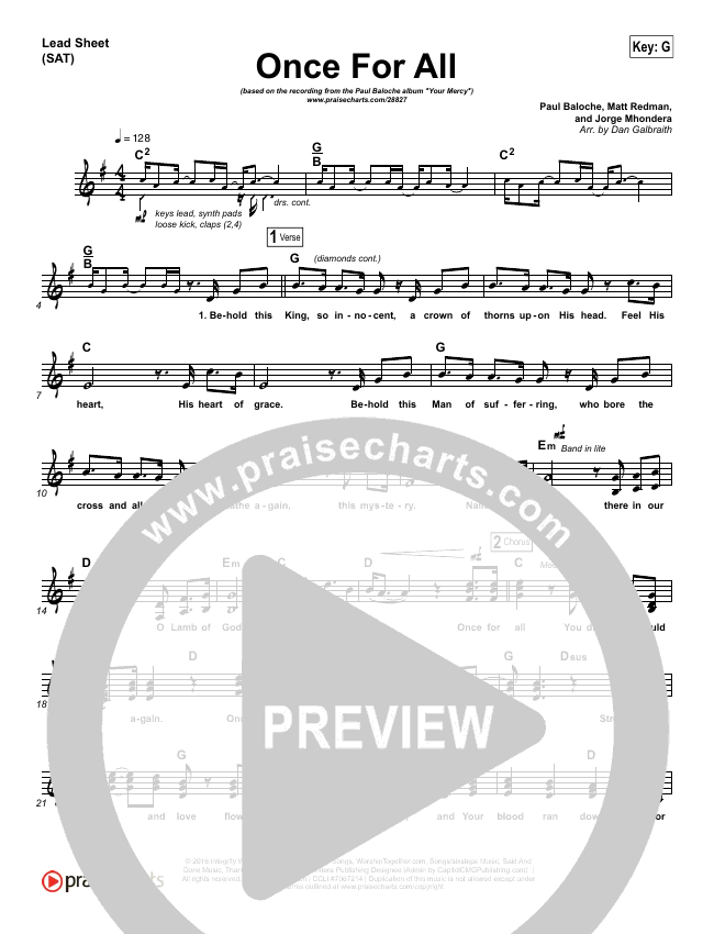 Once For All Lead Sheet (SAT) (Paul Baloche)