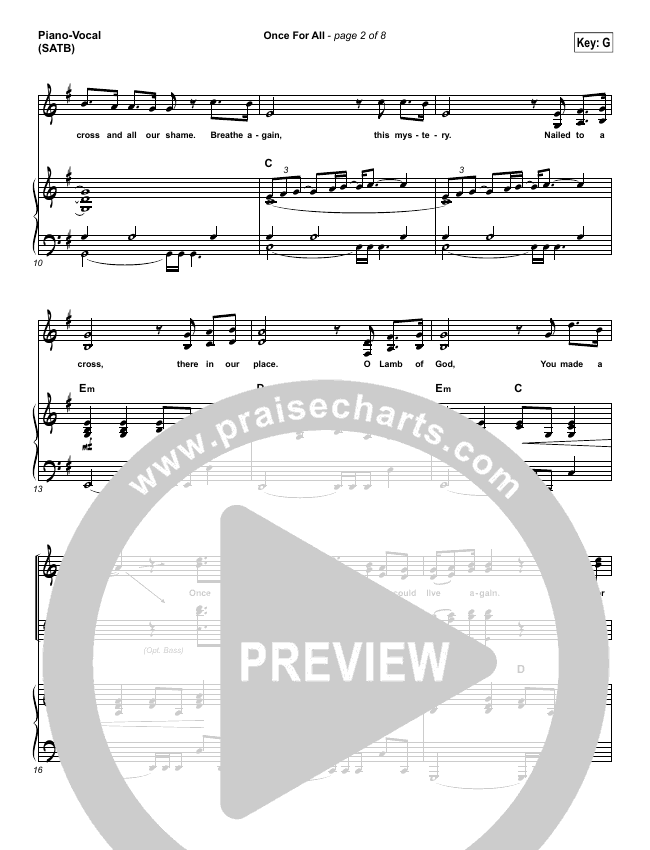Once For All Piano/Vocal (SATB) (Paul Baloche)