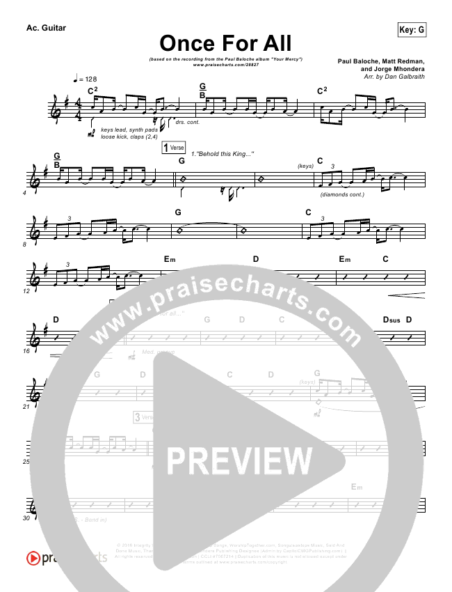 Once For All Rhythm Chart (Paul Baloche)
