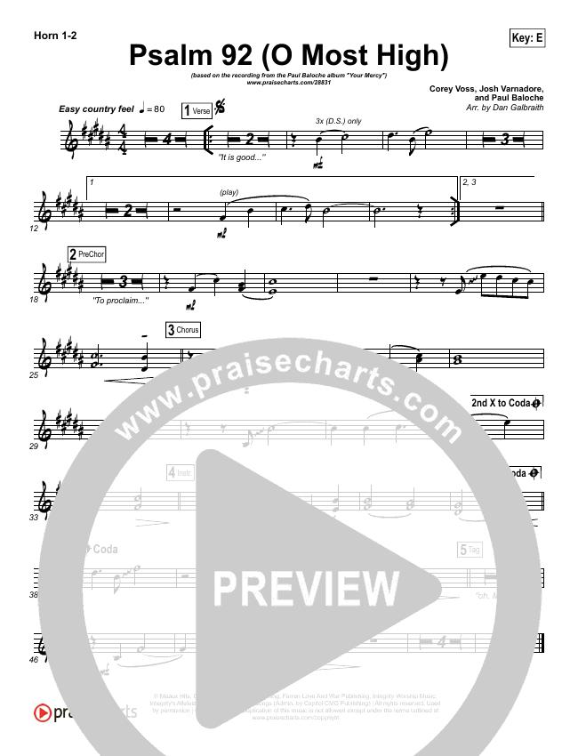 Psalm 92 (O Most High) Brass Pack (Paul Baloche)